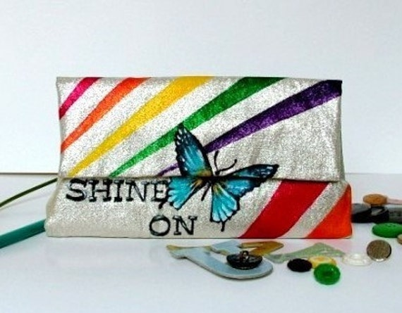 Hand Painted Vintage Wallet- Shine On You Crazy Diamond