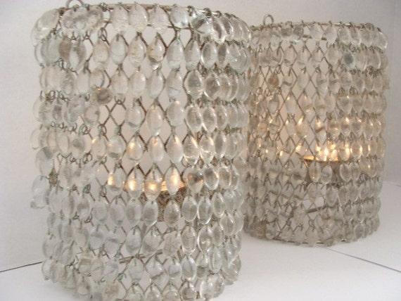 Pair of Vintage Crystal Beaded Wall Sconces by ModernVintageHome