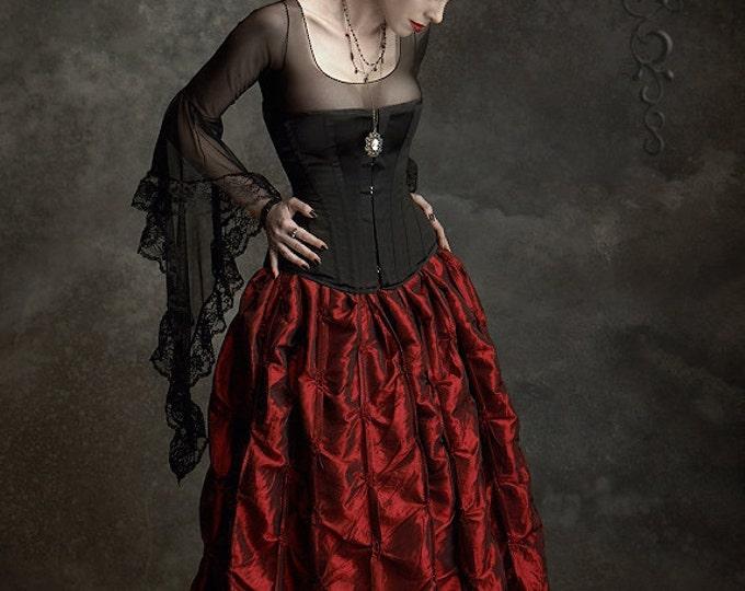 Isabella Romantic Gothic Skirt in Iridescent Taffeta - Fairy Tale Wedding Skirt Handmade Steampunk or Victorian Inspired Long Skirt