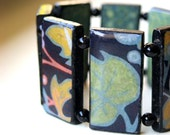 SALE - Secret garden  - Domino stretch bracelet - Spring Collection - Paper jewelry- Mother's Day gift