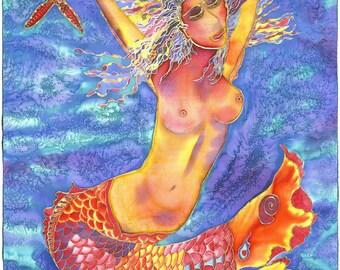Exuberant Orange Mermaid in a Cobalt Turquoise Sea