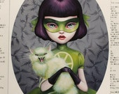 LAST ONE - Scarlett Madcat - Girl Wonder- 5x7 Limited Edition Signed and Numbered Fine Art Print- Third Edition- by Mab Graves-unframed