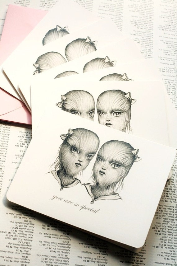 You Are So Special - The Twins - 6 notecards- by Mab Graves