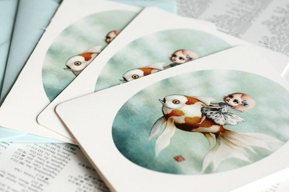 Last One - SALE -  30% Off - Abbi and the Goldfish -3 blank notecards- by Mab Graves