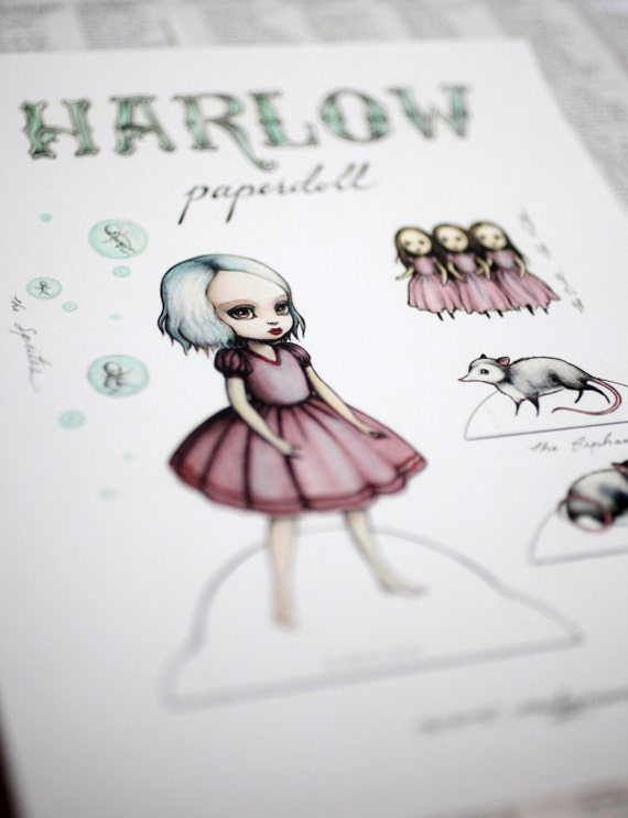Harlow paper doll - Full Color signed paper art doll - by Mab Graves