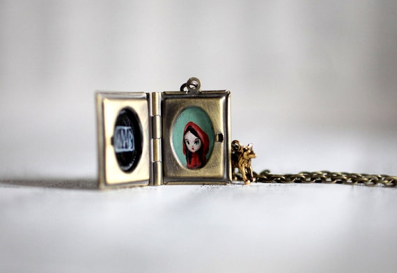 Tell me a story - original Red Riding Hood locket by Mab Graves