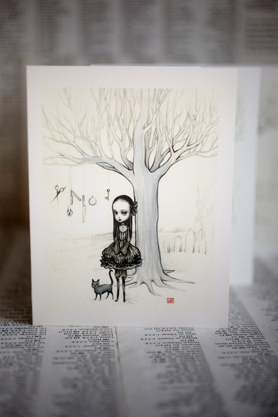 Deirdre at the Witching Hour - 3 blank notecards- by Mab Graves