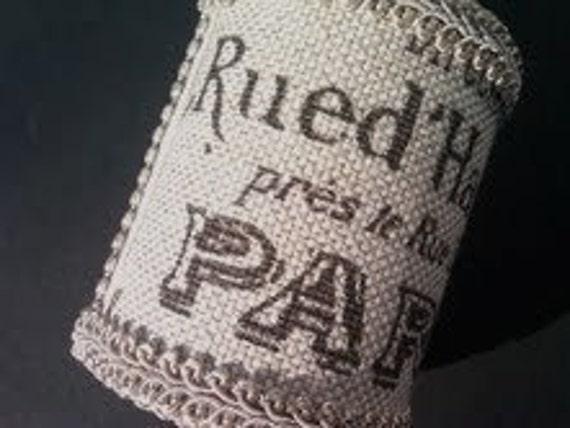 Reserved for D.E. Napkin Ring, Paris Script Fabric, 5 sets