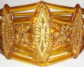 MOST EXQUISITE Art Deco Celluloid Rhinestone LARGER Upper Arm Cuff  Bangle Flapper Sparkle Patterned Bracelet