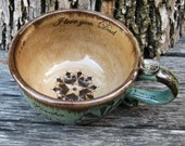 Personalized Soup Mug - OOAK Gift For Him or Her - With or Without Crop Circles - Made to Order - Robin's Egg and Chocolate Brown