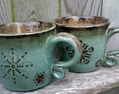 PAIR of Personalized Coffee Mugs - Custom Made Stoneware Mug Set - With Your Words - Robin's Egg Green/Blue and  Espresso Brown