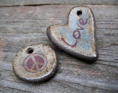Heart Love Peace ceramic focal beads - stoneware heart shaped bead -  Agate Green, Blue Specs, Dark Brown - Rustic, Earthy Valentines Beads