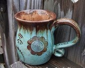 Personalized Ceramic Coffee Mug - Robin's Egg, Chocolate Brown, Aquamarine, Earthy, Wheel Thrown Stoneware Pottery