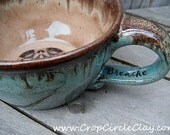 BREATHE Oversized Coffee Mug Wheel Thrown Ceramic Latte Mug Handmade large teacup Shabby Chic - Seafoam Green