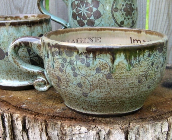 Personalized Latte Mug - Made To Order Pottery - Crop Circle Latte or Soup Mug in Robin's Egg glazes