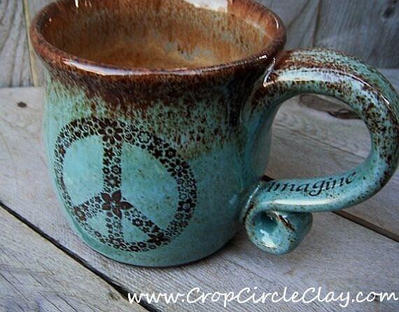 IMAGINE PEACE Coffee Mug Aquamarine Robin's Egg Hippie - Wheel Thrown Ceramic Tea Cup - Rustic Earthy Shabby Chic - Mint Chocolate Chip