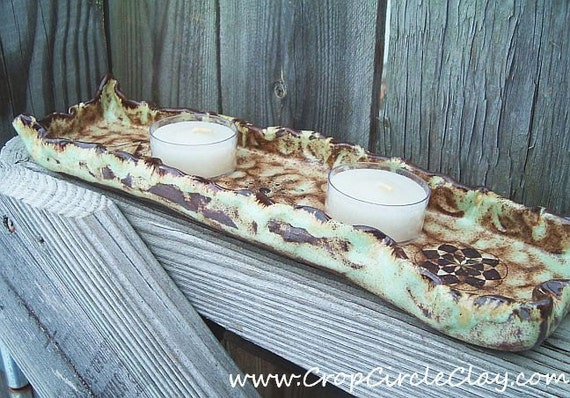 Ceramic Tealight or Votive Candle Tray - Crop Circle Designs - Mint chocolate chip glaze palette - Shabby Chic Decor