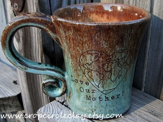 GAIA, MOTHER EARTH Peace Coffee Mug Tea Cup Wheel Thrown mug - Robin's Egg Green Blue Brown,  Earthy Rustic Pottery