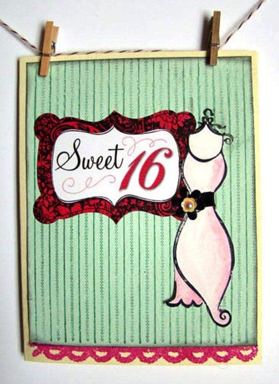 Items similar to Sweet 16 Happy Birthday Handmade Birthday ...