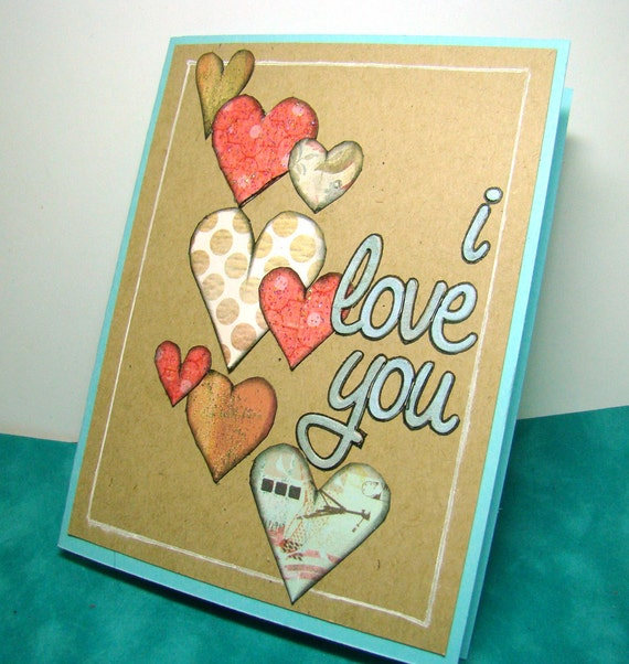 I Love You Soft Cascading Hearts with Glitter Handmade Card
