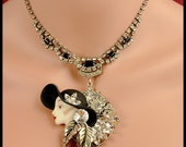 75% OFF SALE!! The Ice Queen - Vintage Rhinestone Necklace and Ceramic Brooch Assemblage