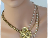 75% OFF SALE!!  Vintage Brass Chains, Faux Pearls and Repurposed Buckle Necklace and Earrings