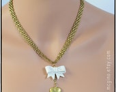 75% OFF SALE!! Vintage Brass Chain, White Bow and Brass Locket Necklace