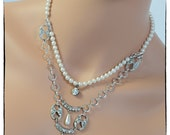 75% OFF SALE!! Vintage Faux Pearls and Rhinestones Necklace