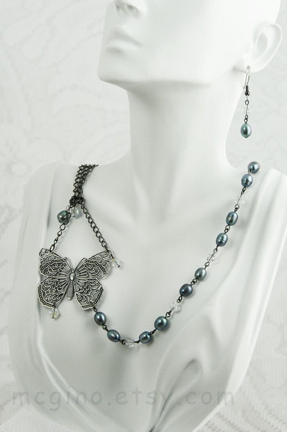 75% OFF SALE!!  Iron Butterfly - Peacock Fresh Water Pearls Swarovski AB Crystals Necklace Earrings Set