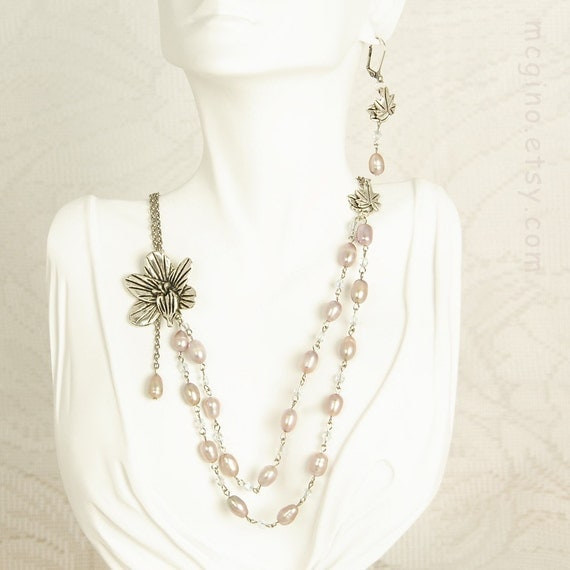 75% OFF SALE!! Lavender Nights - Freshwater Pearl and Crystals Flower Necklace & Earrings Set