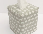Grey Elephant reversible tissue box cover
