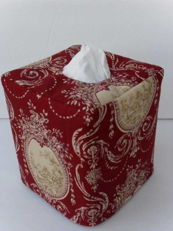 Waverly Red Toile reversible tissue box cover