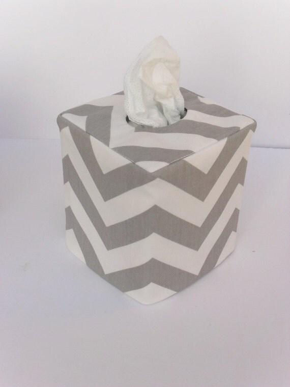 Grey Chevron Reversible Tissue Box Cover