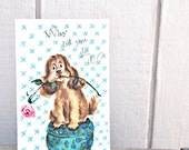 Vintage Get Well Soon Card with Adorable Puppy