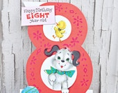 Vintage Happy Birthday 8 Year Old Card with Adorable Dog and Duck
