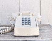 Retro, Creamy Beige Push Button Desk Phone