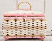 Lovely Pink and Gold Sewing Basket from Japan