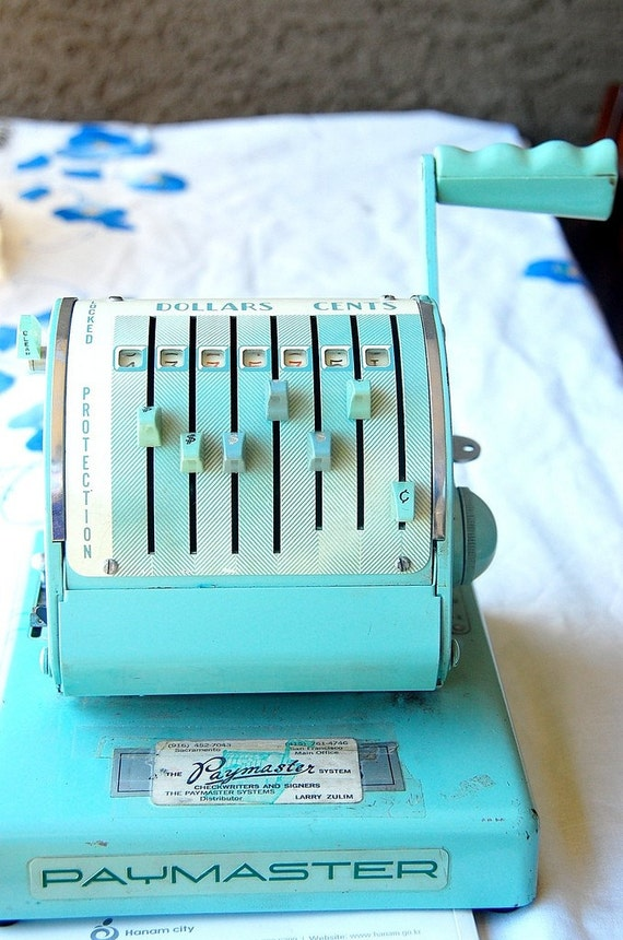Classic 50s Vintage Paymaster Check Stamper in Mint Green