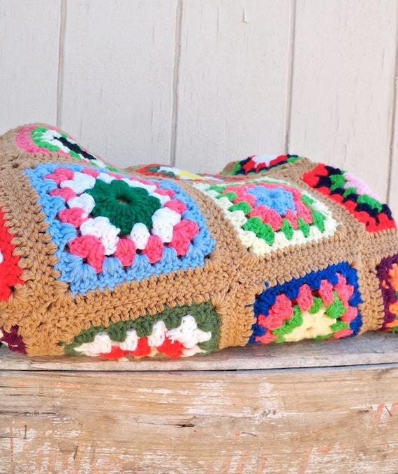 Vintage Multi-Colored Crocheted Afghan
