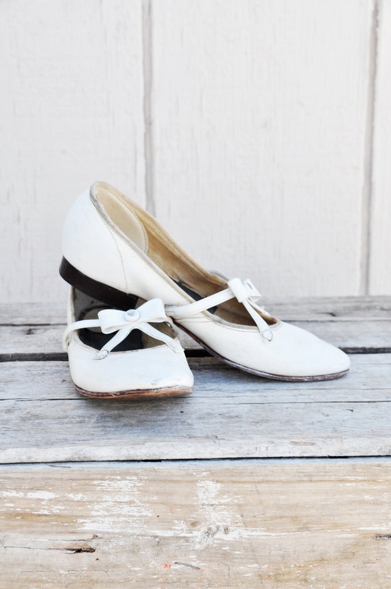 Charming White Pair of Shabby, Antique Girls Shoes