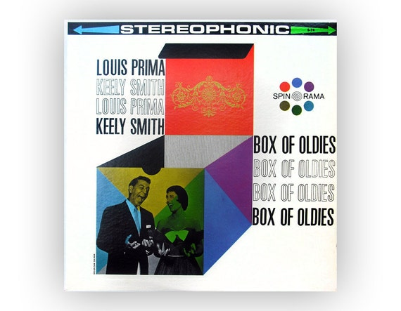 "Sam Suliman record album design, c. 1960. Louis Prima & Kelly Smith ""Box of Oldies"" LP"