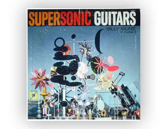 "Charles Eames record album illustration, 1960. Billy Mure ""Supersonic Guitars, Volume 2"" LP"