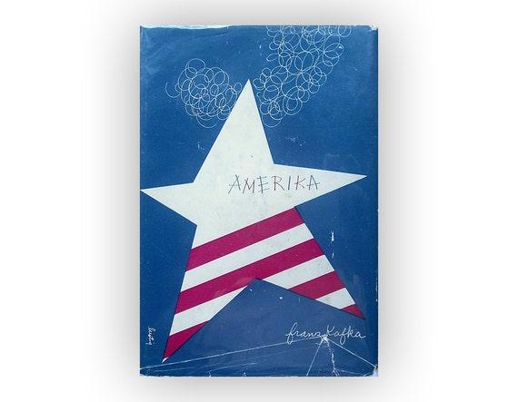 """Alvin Lustig book jacket design, 1946. """"Amerika"""" by Franz Kafka"""