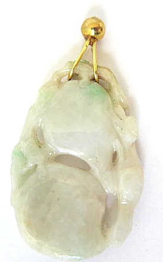 Genuine Class 'A'  Burmese  Jadeite Jade Pendant with Gold Bale-Squirrel on Double Peach