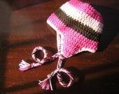 Rasberry Mocha Ear Flap Baby Hat