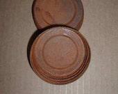 Two Rusty Tin Regular Size Jar Lids Primitive Woodland Garden Wedding Decor Candles