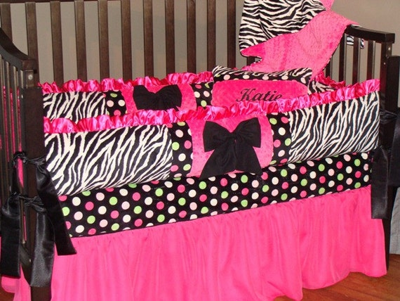 Hot Pink And Zebra With Lime Green Crib Set With Blanket