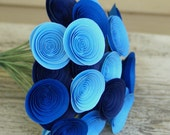 Stormy Blues Bouquet; Mini Blue Paper Flowers in Royal Blue, Navy, Cornflower