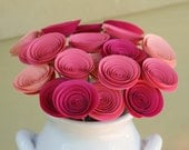 Unique Valentines Gift; 24 Mini Pink Paper Flowers; Valentines Gift for Her; Valentines Gift under 50