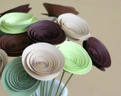 Woodland Inspired Centerpiece, Eco Friendly Mini Paper Flowers in Rustic Browns and Greens, Alternative Decor